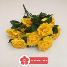 Букет роза натуралка 9 голов и 3 бутона