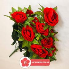Бархатная роза с листком 11 голов