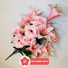 Букет роза с лилией 18 голов